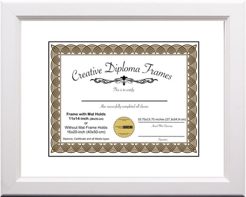 White Diploma Frame with Mat