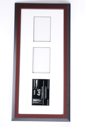 4x6-inch 2-6 Opening Mahogany Vertical Picture Frame