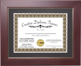 Mahogany with Gold Relief Diploma Frame with Mat