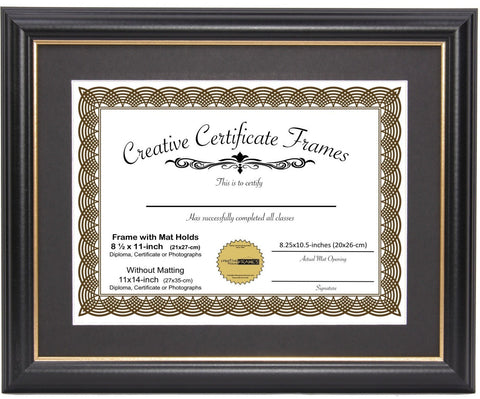 Black with Gold Diploma Frame with Mat