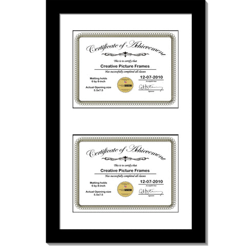 Black Double Document Vertical Frame with Mat