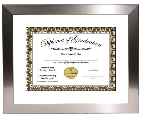 Stainless Steel Diploma Frame with Mat