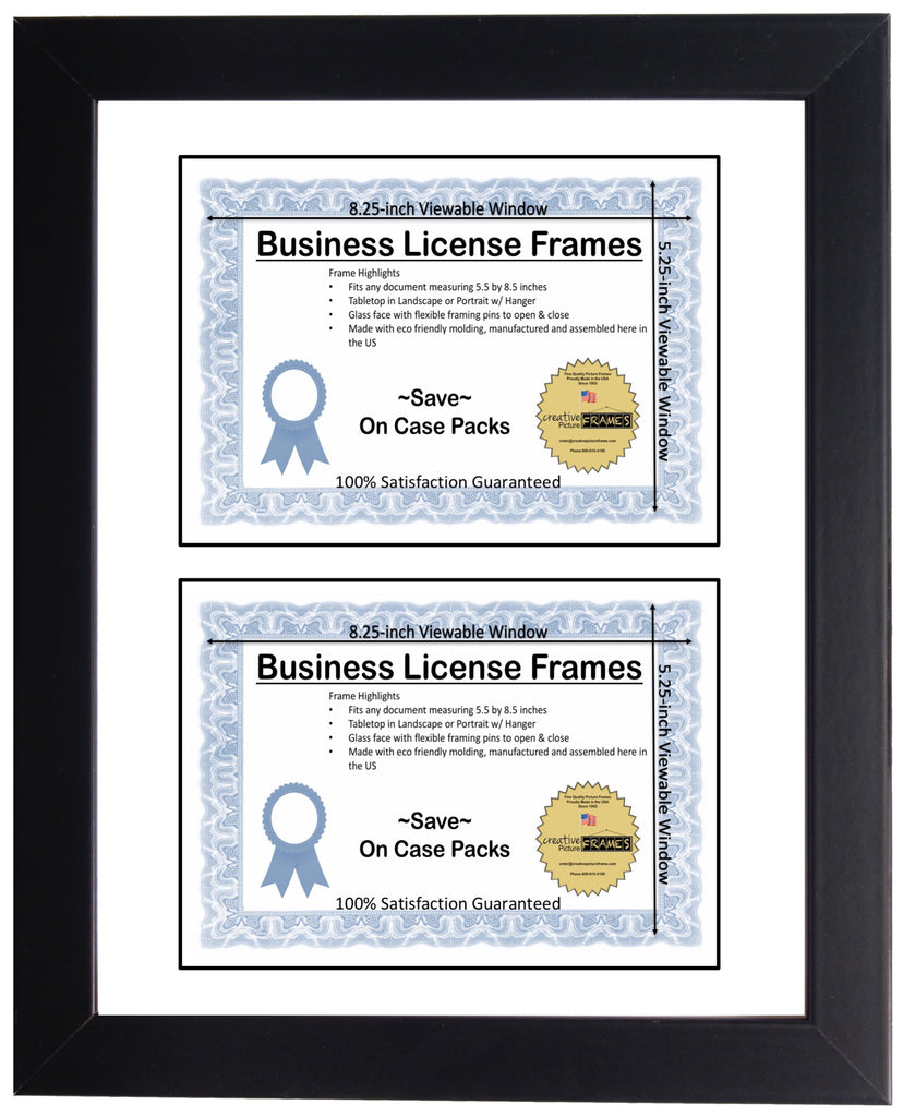 5.5x8.5 Double License Frame with Mat – creativepictureframes.com