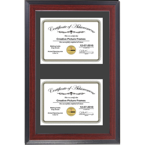 Mahogany Double Document Vertical Frame with Mat