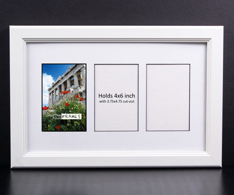 4x6-inch 3-12 Opening White Picture Frame