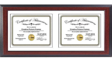 Mahogany Double Document Horizontal Frame with Mat