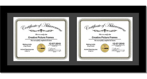 Black Double Document Horizontal Frame with Mat