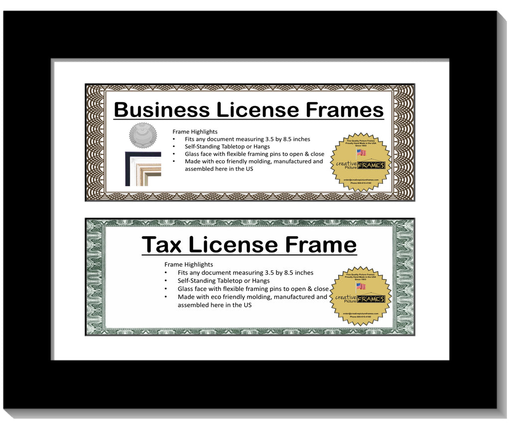 35x85 Double License Frame With Mat Creativepictureframescom