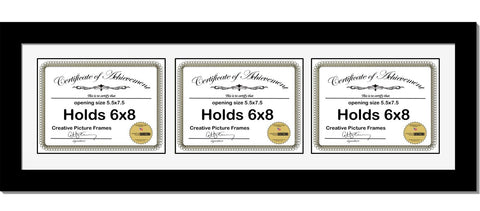 Black Triple Document Horizontal Frame with Mat