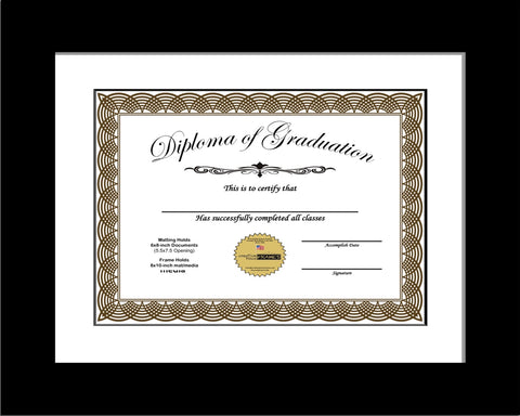Black Diploma Frame with Mat
