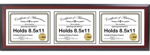 Mahogany Triple Document Horizontal Frame with Mat