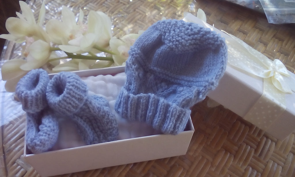 Prem Booties and Hat in Gift Basket  100% Handknitted Merino