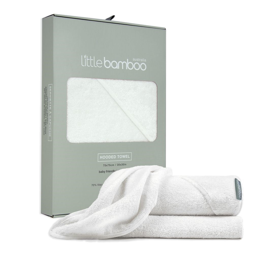 Little Bamboo Hooded Towel , White
