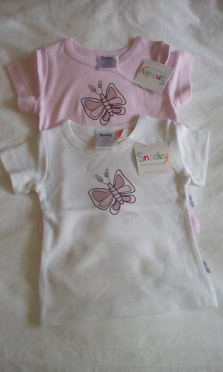 Snooky Pink T Shirt with Butterfly Motif.