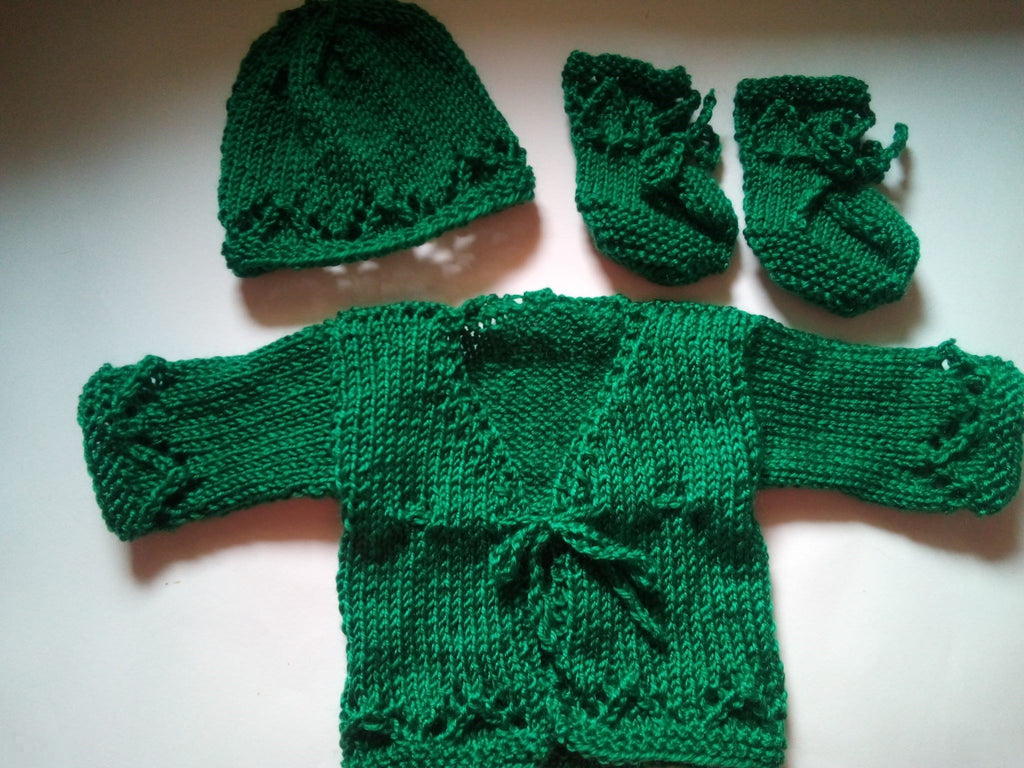 Handknitted Jacket, Hat and Booties