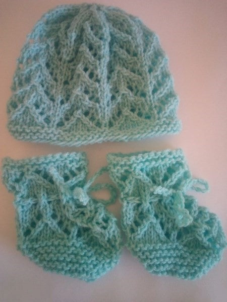 Hand knitted Beanie and Booties 100% Wool
