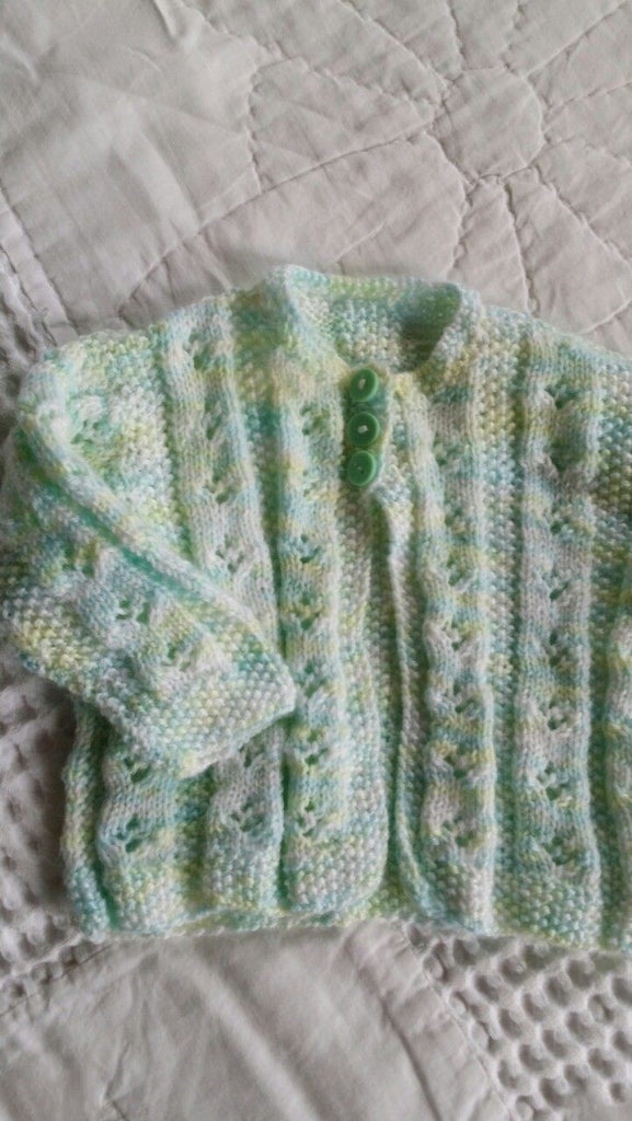 Pastel Colours 100% Wool, Handknitted Cardi,  Newborn