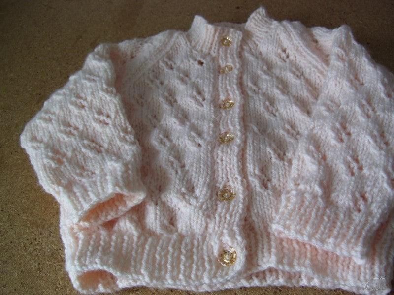 Arcrylic Wool Creamy  Peach  Cardigan 9-12mths
