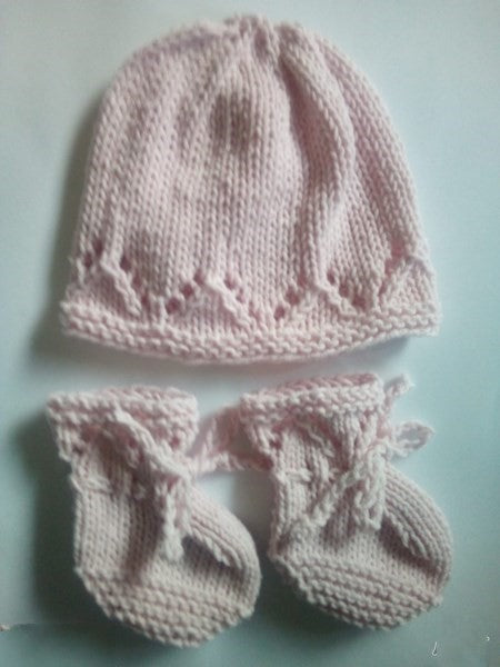 Hand Knitted  Cotton , Beanie and Bootie Set