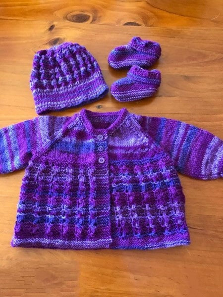 Newborn, Purple Hand knitted Merino Set