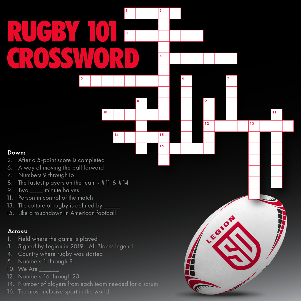 A rugby 101 crossword, created by San Diego Legion