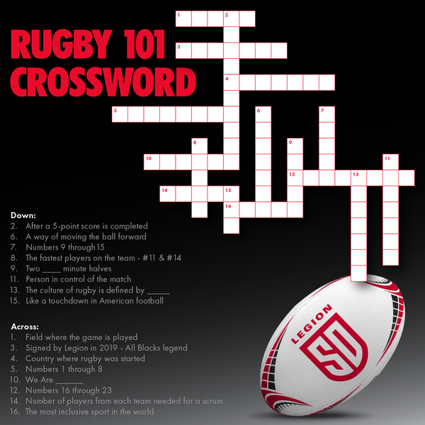 Rugby 101 crossword - round 1