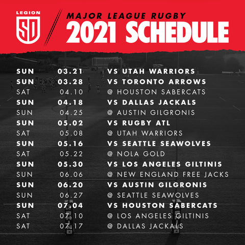 2021 Season Schedule - San Diego Legion