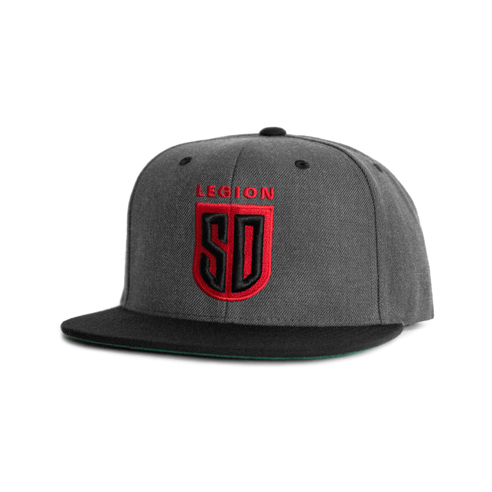 SD LEGION Shield Snapback - Charcoal Gray/Black