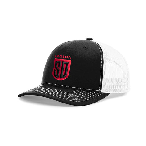 SD LEGION Mesh Hat - Black/Red on White