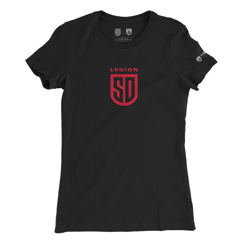 SD LEGION Shield T-Shirt - Black Ladies Cut