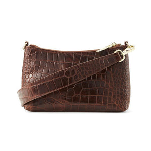 The Christy Brown Croc Leather Bag Accessories Nakedvice