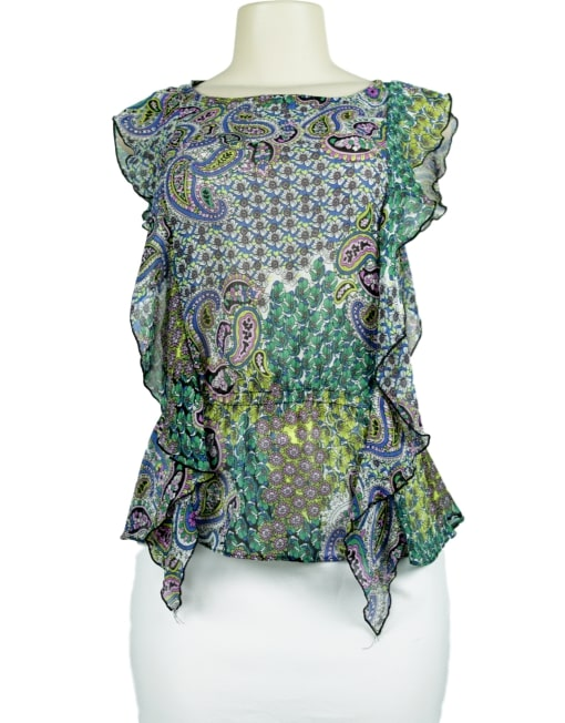SUSIE ROSE Sheer Ruffle Blouse front - eKlozet Luxury Consignment Boutique