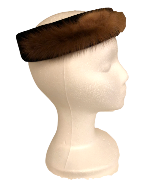 Vintage Velvet and Fur Headband