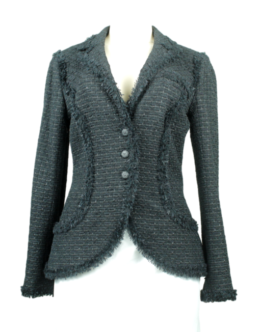 CHANEL 06C Black Fringed Bouclé Tweed Blazer