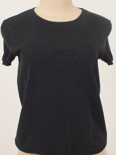 CHANEL EMBROIDERED CAMELLIA TOP