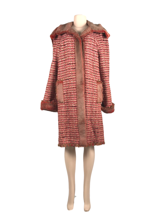 CHANEL TWEED/FUR REVERSIBLE LAPIN COAT