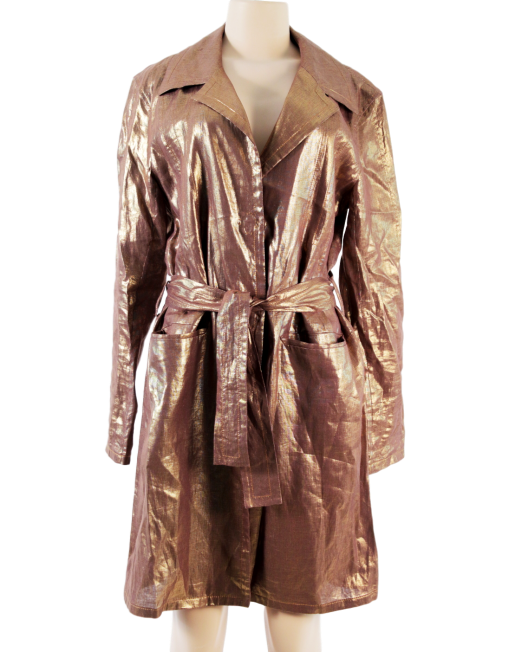 CHRISTIAN DIOR METALLIC LINEN TRENCH COAT - eKlozet Luxury Consignment