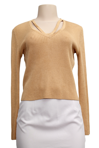 St. John Sport V-Neck Ribbed Knit Sweater