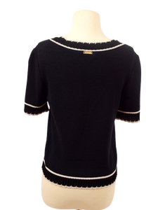 ST. JOHN SPORT KNIT SHORT SLEEVED SWEATER