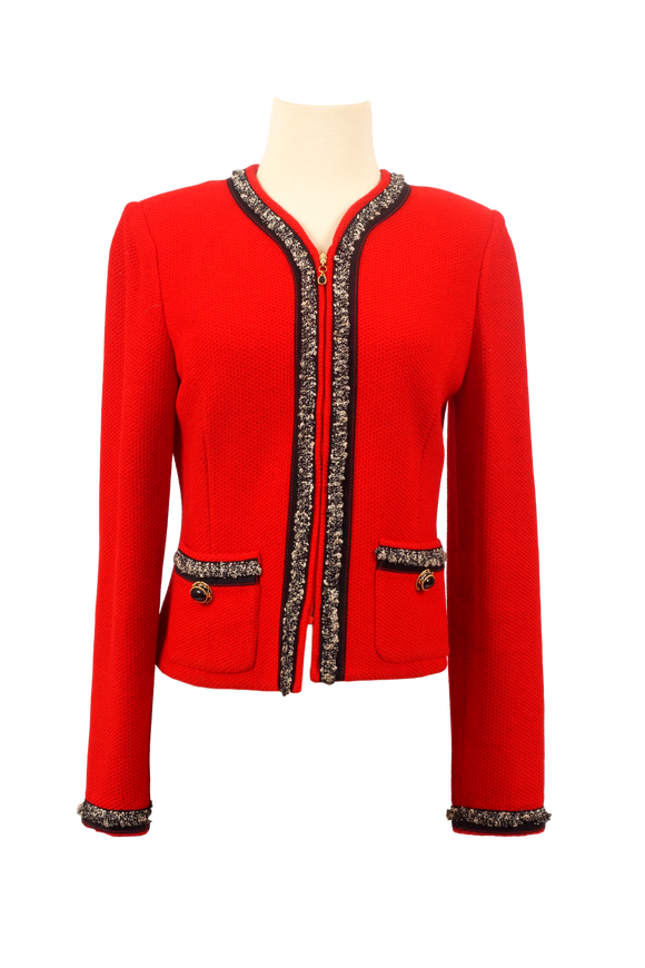 ST. JOHN COLLECTION RED COLLARLESS JACKET - eKlozet Luxury Consignment