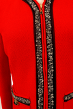 ST. JOHN COLLECTION RED COLLARLESS JACKET
