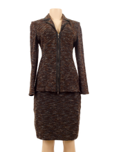 ST. JOHN KNIT TWEED SUIT WITH LEATHER TRIM