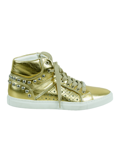 ALESSANDRO DELL'ACQUA Metallic High-Top Stud Sneaker