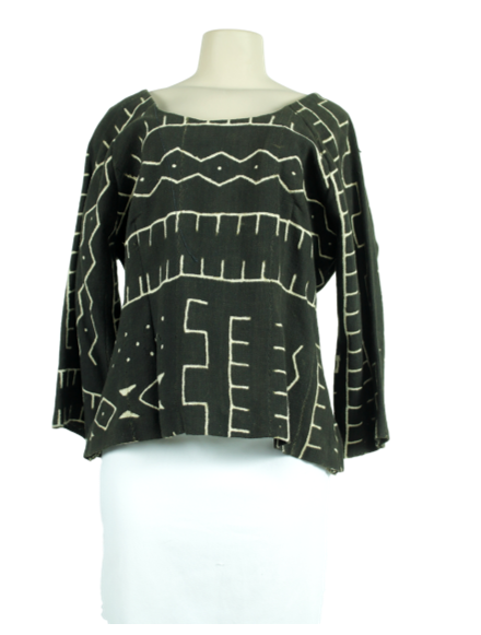 Custom African Print U-Neck Top