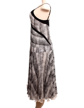 DEREK LAM BLACK/WHITE SILK ABSTRACT PRINT DRESS