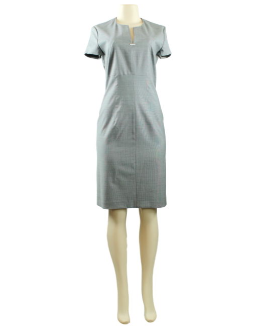 BOSS BY HUGO BOSS Virgin Wool Houndstooth Knee-Length Dress w/ Tags Front - eKlozet Luxury Consignment