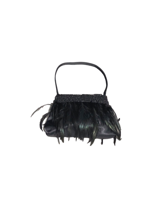 LA RAGALE FEATHER EVENING BAG - eKlozet Luxury Consignment