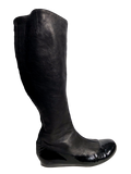 Lanvin Knee-High Leather Round-Toe Boots - eKlozet Luxury Consignment