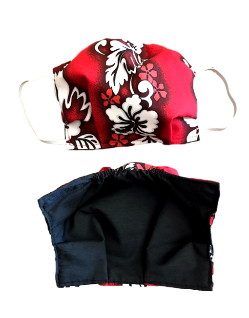 100 % Sustainable Cotton Face Mask w/ Cloth Filter - Red Floral - eKlozet Luxury Consignment