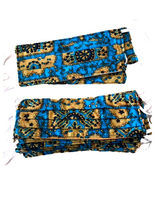 100 % Sustainable Cotton Pleated Face Mask w/ Cloth Filter - African Print - eKlozet Luxury Consignment